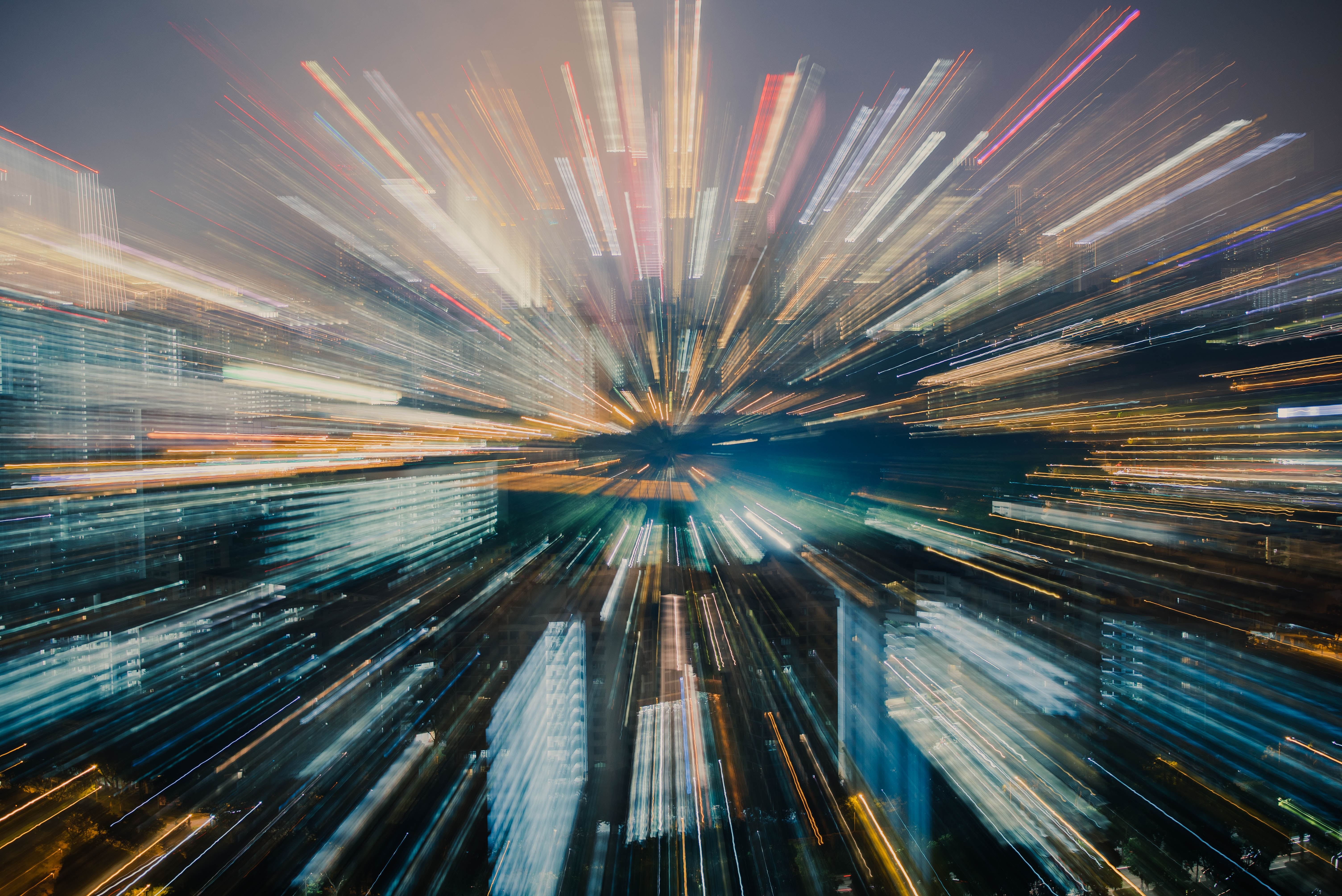 Data Center Systems Is Your Business Connectivity Speed Fast Enough Skyline Blurred by Warp Speed